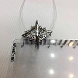 Черный опал, циркон кольцо с натуральным черным опалом и цирконами в серебре родированное 17 размер Тайланд, фото 8