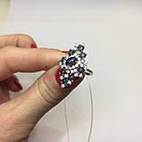 Черный опал, циркон кольцо с натуральным черным опалом и цирконами в серебре родированное 17 размер Тайланд, фото 3