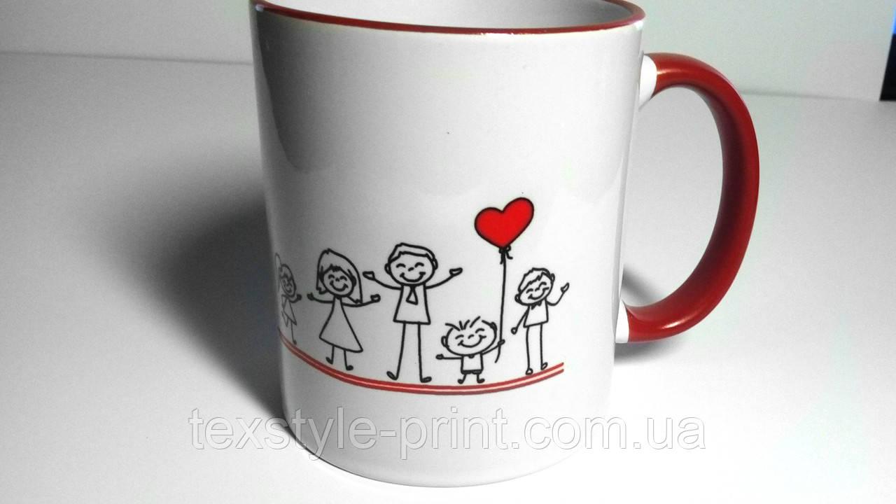 Чашка с цветным ободком с печатью Вашего логотипа