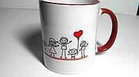 Чашка с цветным ободком с печатью Вашего логотипа, фото 1