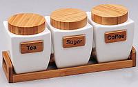 Набор банок емкостей для сыпучих Ceram-Bamboo 800мл для сыпучих на деревянной подставке BD-289-152