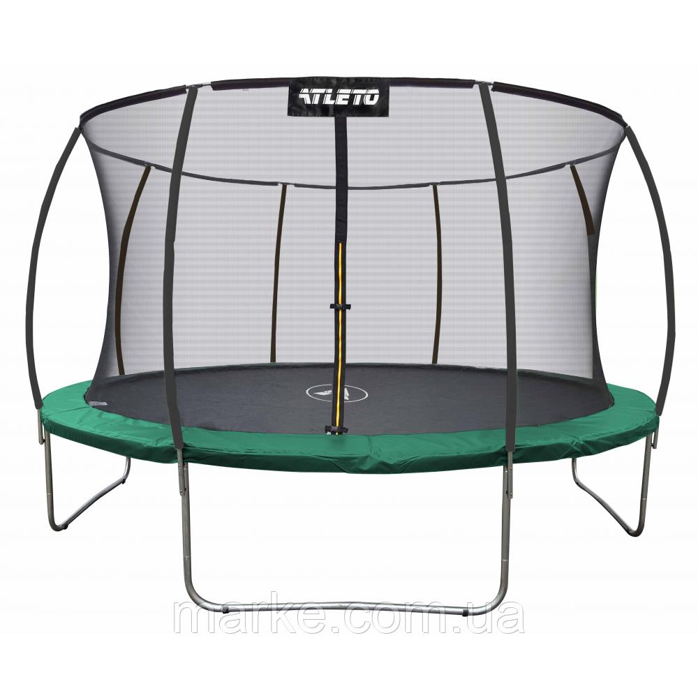 Батут Атлето зелений Atleto 183 см 6ft діаметр із внутрішньою сіткою спортивний для дітей