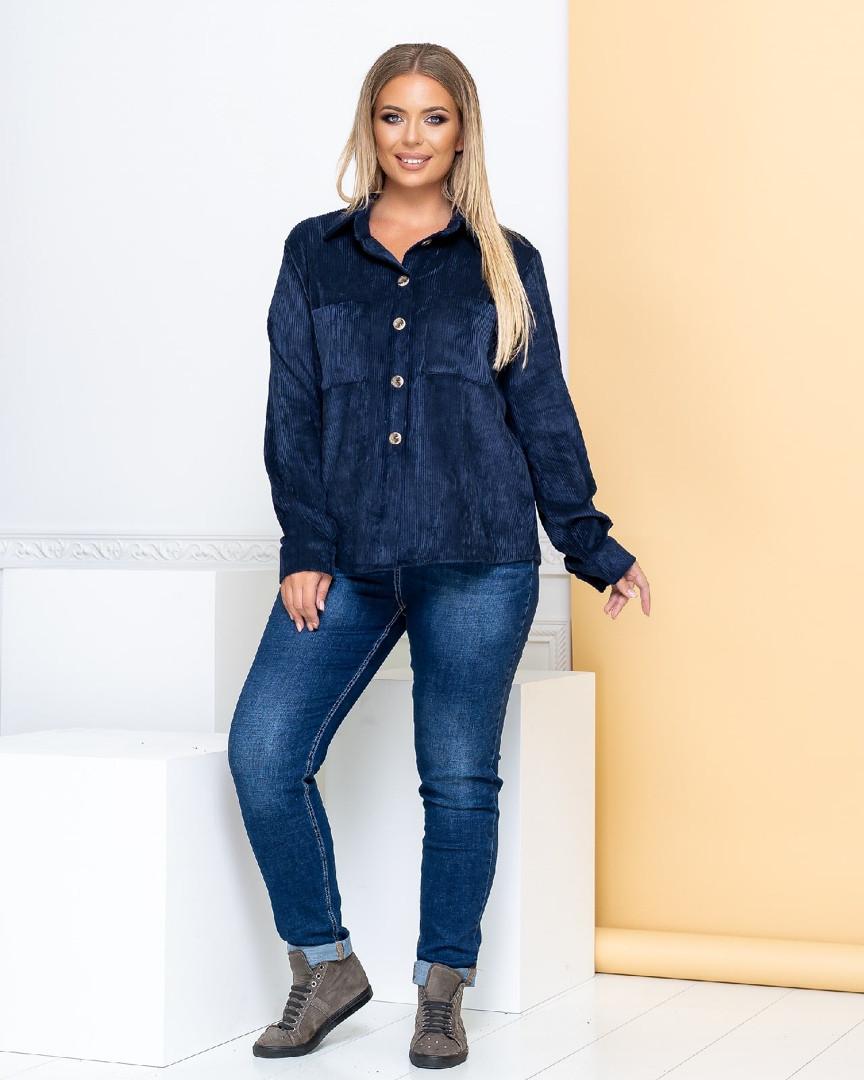 Р. 50-60 Женская вельветовая рубашка больших размеров темно-синяя
