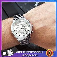 Мужские наручные металлические серебряные часы Emporio Armani, чоловічий годинник Армани, классические