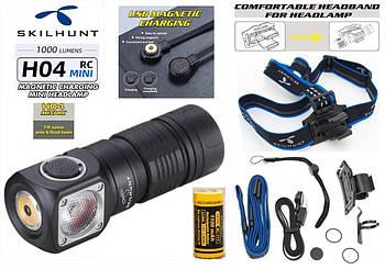 Налобный фонарь SKILHUNT H04 RC MINI+Батарея 1100mAh (1000LM, Cree XM-L2, IPX8, Магнит, 5000k, NW, 1*18350)
