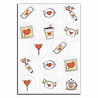 Капкейки-6 см Валентинка письмо вафельная картинка