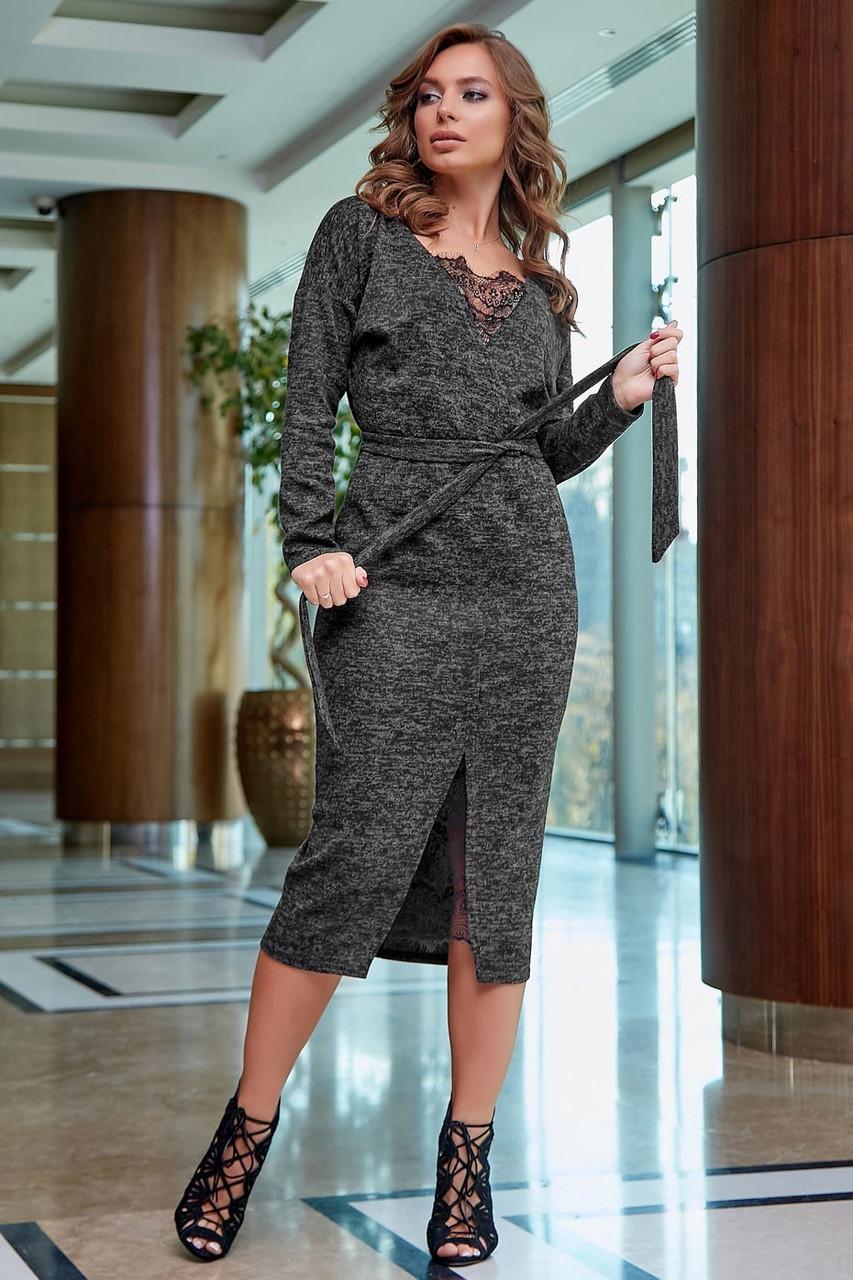 Стильне плаття міді з ангори з поясом | колір чорний + чорне мереживо