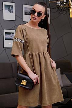 Свободное замшевое платье с завышенной талией рукав 3/4 цвет: кофе