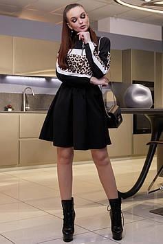 Модное расклешенное платье с завышенной талией, цвет: черным с белым + леопардовый принтом