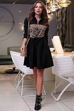 Модное расклешенное платье с завышенной талией, цвет: черный с кофе + леопардовый принт