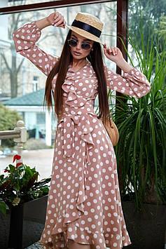 Ассиметричное платье на запах с расклешенной юбкой с воланами цвет: персиковый с белым горохом