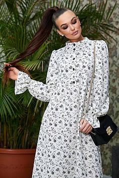 Свободное платье миди с завышенной талией на пуговицах цвет: белый с черными цветами