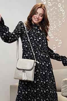 Свободное платье миди с завышенной талией на пуговицах цвет:черный с белыми цветами