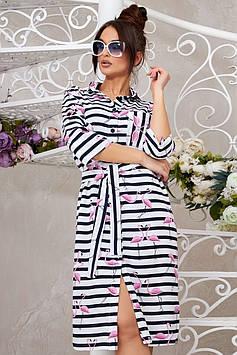 Молодежное платье на пуговицах из коттона в полоску + пояс, цвет: белый с черным