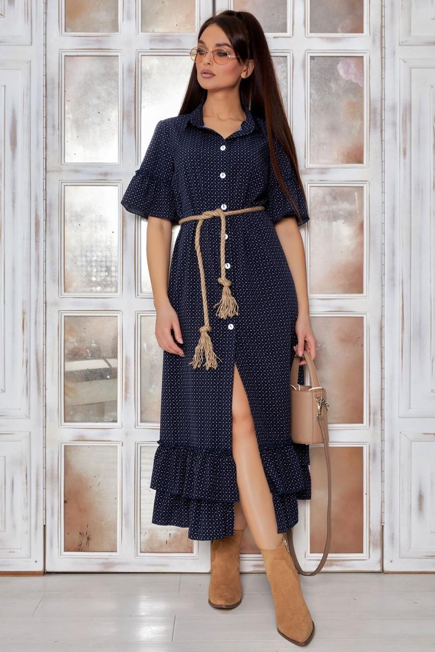 Літнє плаття міді з гудзиками рюші на спідниці і рукаві   софт синій з білим