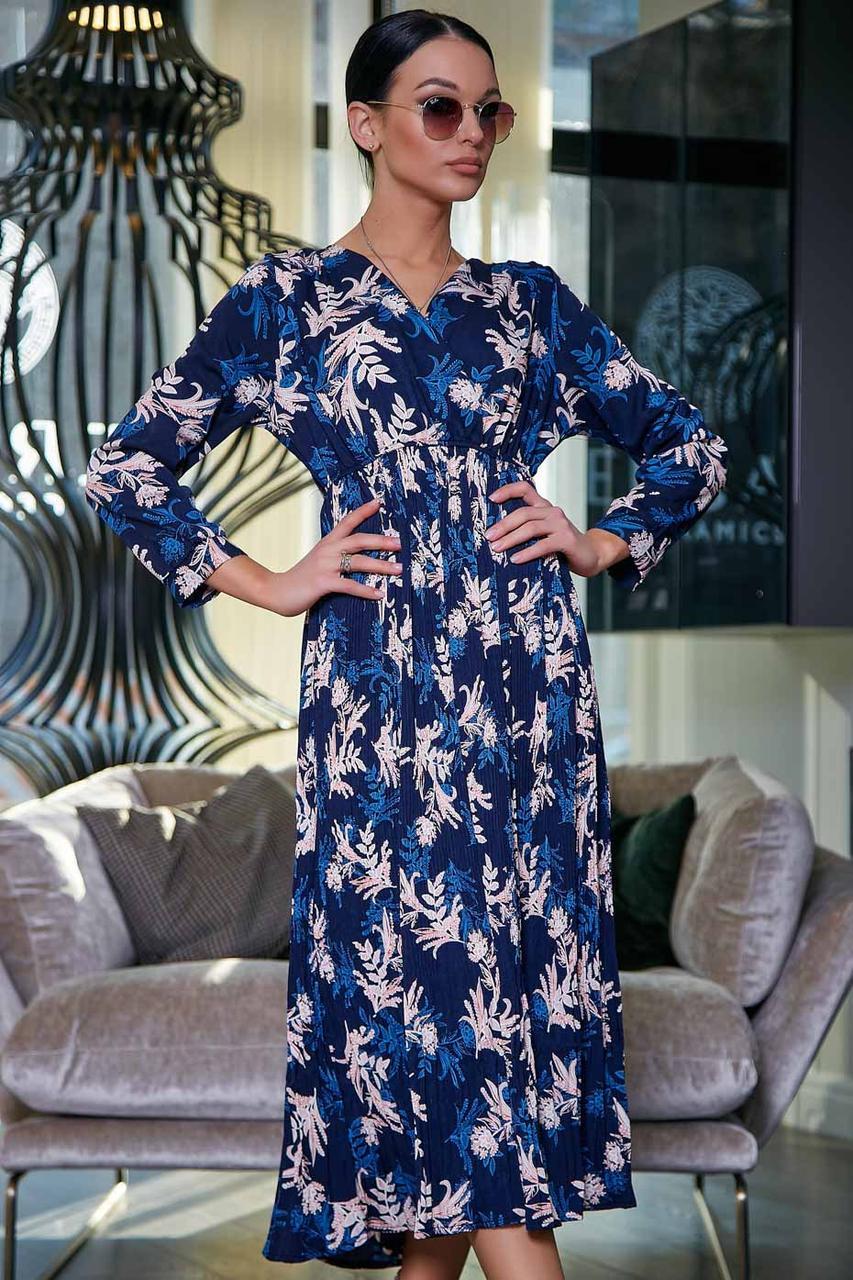 Свободное платье миди на запах завышенная талия, цвет: темно-синий; принт с крупным цветком