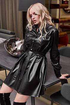 Эффектное платье из экокожи с накладными карманами цвет: черный
