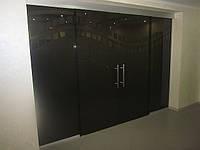 Бронзовая стеклянная перегородка с раздвижными двустворчатыми матовыми дверями для дома и офиса