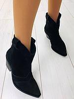 Ботинки Казаки замшевые черные, фото 1