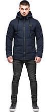 Синя куртка чоловіча зимова молодіжна з нашивкою модель 25440 (ЗАЛИШИВСЯ ТІЛЬКИ 48(M))