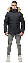 Чорна куртка чоловіча молодіжна зимова з коміром модель 25780