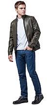 Легка чоловіча куртка молодіжна осінньо-весняна кольору хакі модель 1588