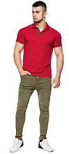Красная практичная футболка поло мужская модель 6093