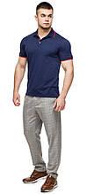 Удобная футболка поло мужская цвет темно-синий-красный модель 6093