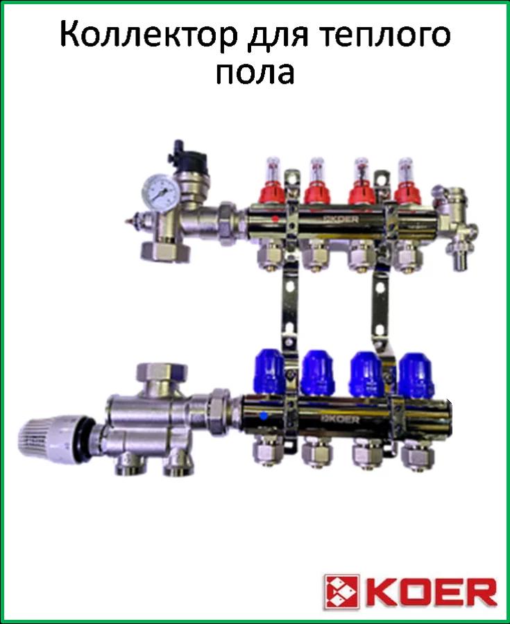 Коллектор Koer для теплого пола на 3 контура с нижним подключением