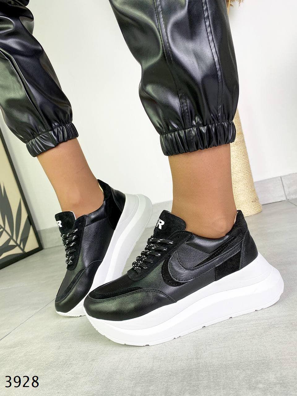 Женские кроссовки на шнуровке кожа+замша 36-40 р чёрный