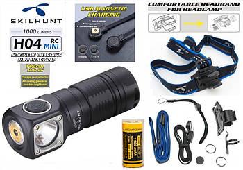 Налобный фонарь SKILHUNT H04R RC MINI+Батарея 1100mAh (1000LM, Cree XM-L2, IPX8, Магнит, 5000k, NW, 1*18350)