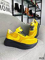 Женские кроссовки на шнуровке кожа+замша 36-40 р жёлтый, фото 1