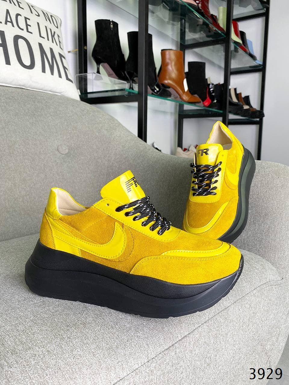 Женские кроссовки на шнуровке кожа+замша 36-40 р жёлтый