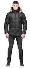 Чорна чоловіча молодіжна дизайнерська зимова куртка модель 25310