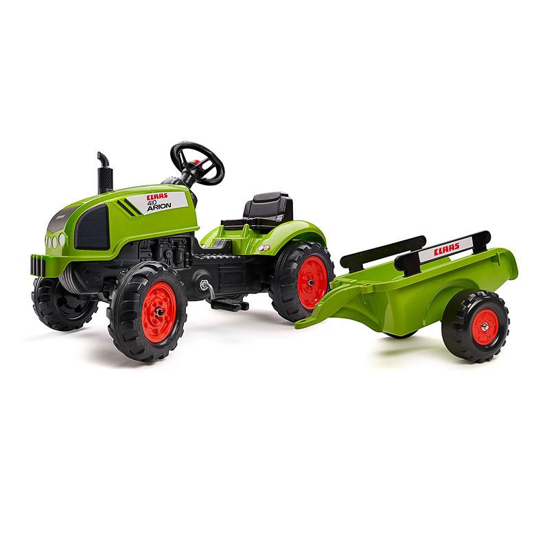 Детский трактор на педалях с прицепом Falk 2041C CLAAS ARION зеленый