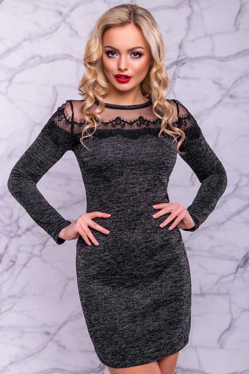 Черное вечернее платье мини из ангоры с люрексом + кружево длинный рукав