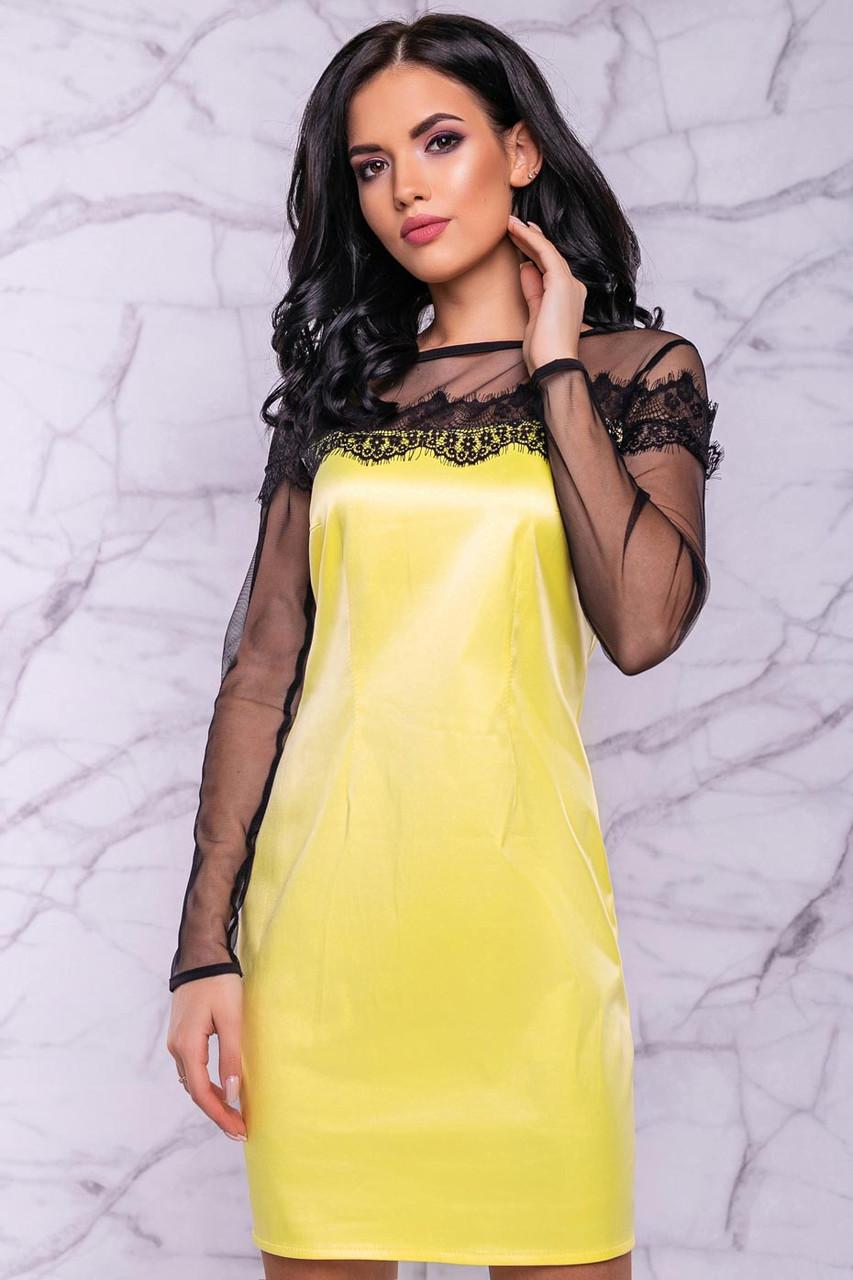 Короткое вечернее платье из атласа и сетки желтое с черным
