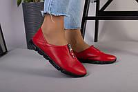 Туфли женские кожаные красные с замком спереди