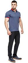 Фабричная футболка поло мужская цвет джинс модель 6618