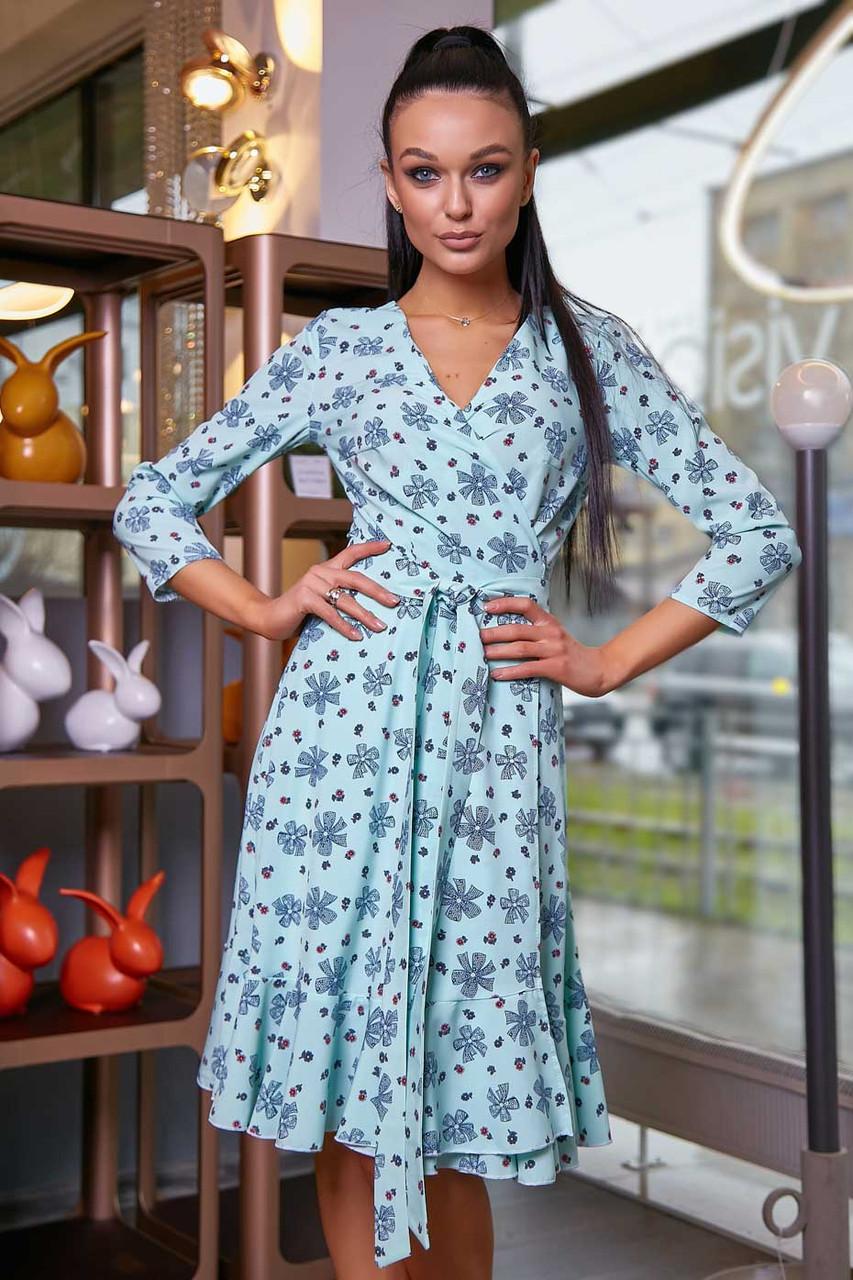 Весняне розкльошені плаття міді на запах з рукавом 3/4 | тканину софт | колір: бірюза з синіми бантиками