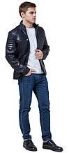 Куртка осенне-весенняя темно-синяя мужская молодежная с воротником модель 3645 (ОСТАЛСЯ ТОЛЬКО 50(L))