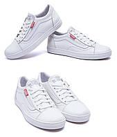 Мужские кожаные кеды Vans Clasic White (реплика). Мокасины, кеды повседневные. Мужская обувь