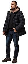 Чорна куртка на блискавці чоловіча зимова модель 26402 (ЗАЛИШИВСЯ ТІЛЬКИ 46(S))