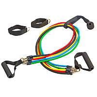Набор эспандеров многофункциональный 5 жгутов Power Bands с ручками FI-5955