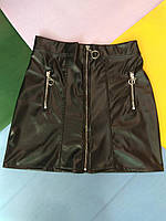 Юбка молодежная для девушек эко кожа размеры 42-48,цвет черный,модель указывайте при заказе, фото 1