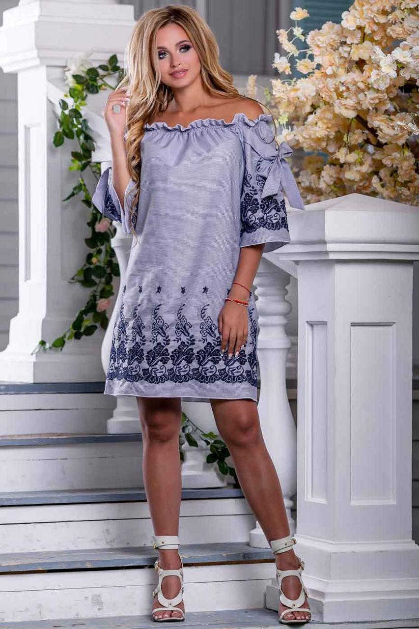 Вільне літнє плаття c відкритими плечима бавовна з вишивкою | біло-синя смужка