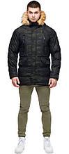 Зимова чоловіча дизайнерська куртка молодіжна темно-зеленого кольору модель 25450