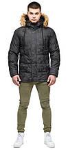 Дизайнерська зимова чоловіча молодіжна куртка темно-сірого кольору модель 25110