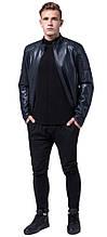 Темно-синя куртка осінньо-весняна чоловіча молодіжна модель 4129