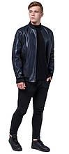Молодежная темно-синяя куртка мужская осенне-весенняя модель 4055 (ОСТАЛСЯ ТОЛЬКО 50(L))